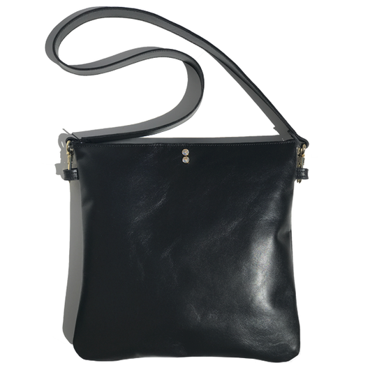 Monique Strap Bag 2 – Strap Bags Made in -California Soft Black Italian Leather Featuring 2 Swarovski