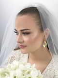 Bride Wearing Large Crystal Hoops - Featuring Iridescent Swarovski