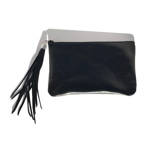 Bags Made in USA Monique Bag – Soft Black Leather with Swarovski Suede Long Tassel