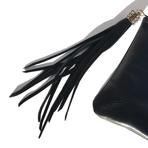 Handbag Accessory – Black Suede European Leather Tassel with 30 Clear Crystals (gold)