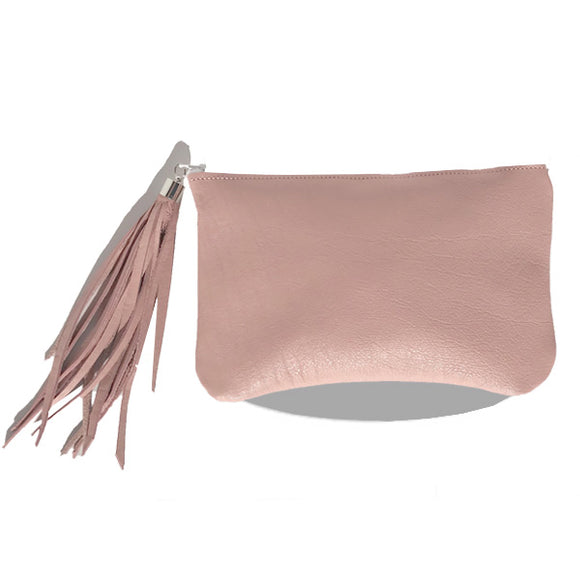 Monique Tassel Bag – Pink Natural Leather (silver)