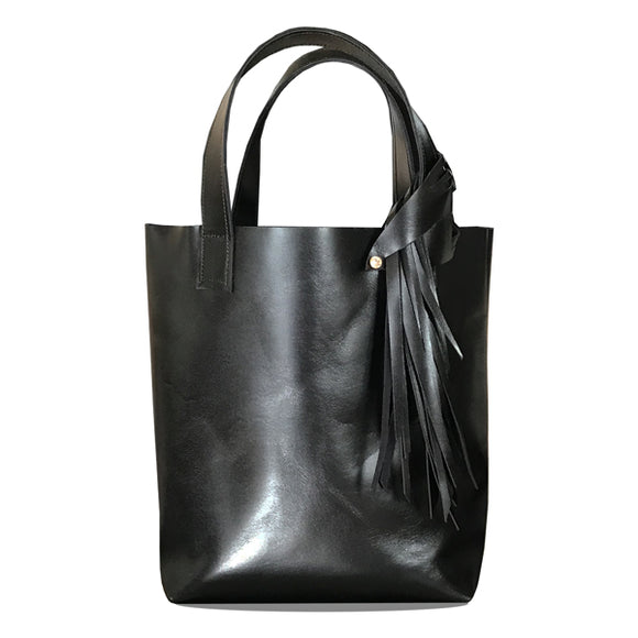 Black Italian Leather Tall Tote 2 – Fringe Swarovski Design