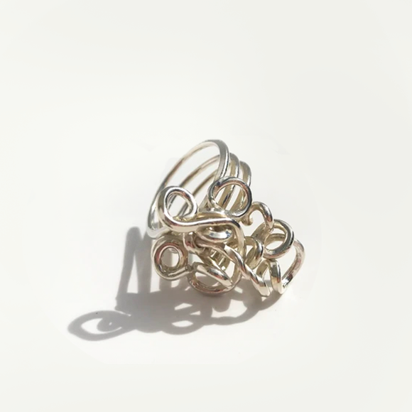Hand Sculpted Thick Sterling Ring - Large Trio Goddess