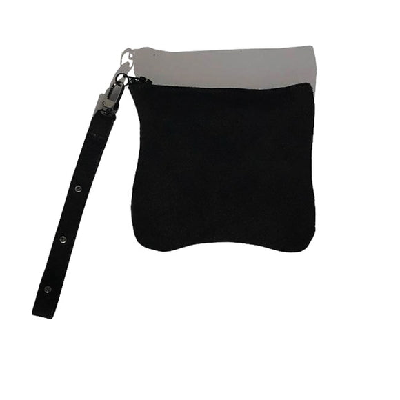 Ultra Mini Monique Bag – Soft Black Suede with 3 Gunmetal Swarovski Long Wristlet