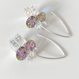 Style 1: Versatile Goddess Bent Hoop Sterling Earrings - Cube Swarovski