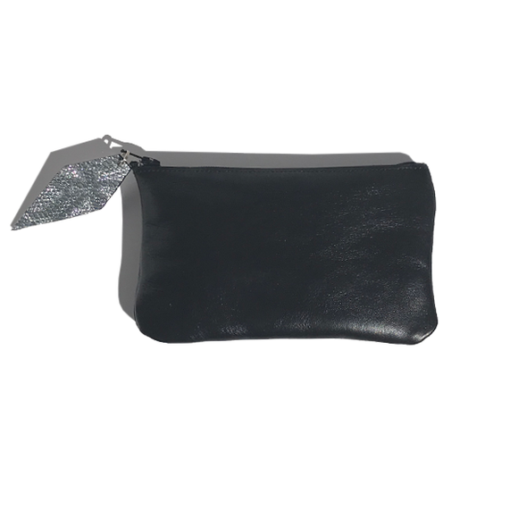 Monique Mini Pouch – Soft Black Leather Featuring Metallic Leather Zipper Pull