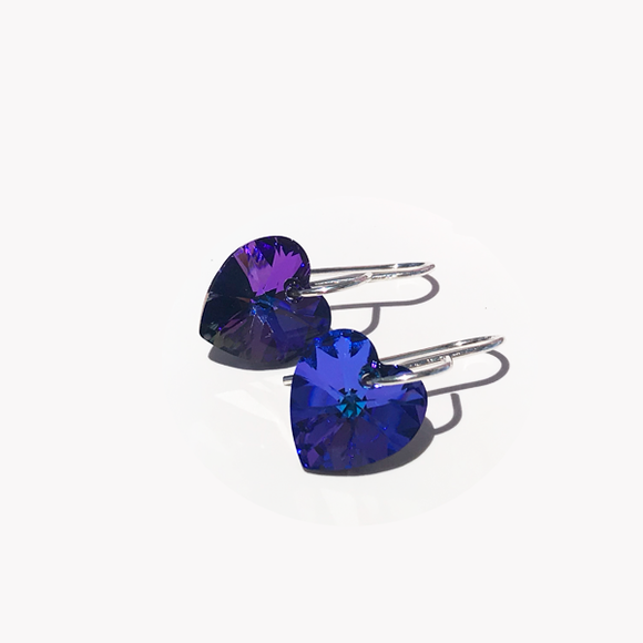 Medium Purple rystal Heart Cristallo Earrings