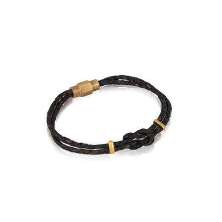 Braided brown leather bracelet