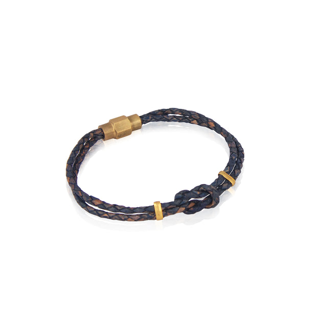 Braided navy leather bracelet for men - the lost boys