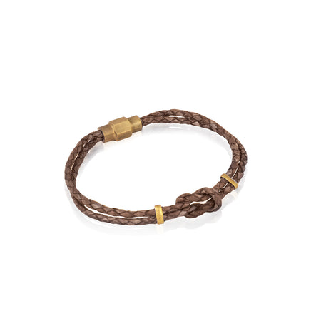 Braided natural leather bracelet