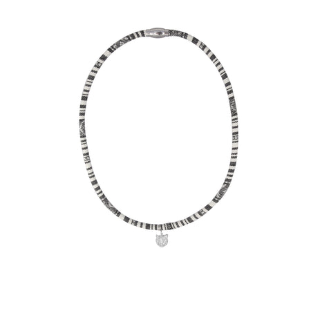 Grey and white baja necklace with silver tiger