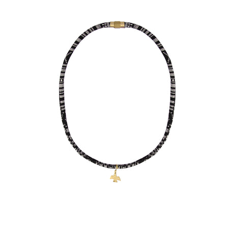 Black and white baja necklace with gold condor