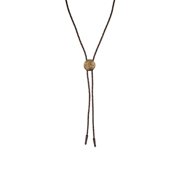 Braided brown bolo tie with brass globe