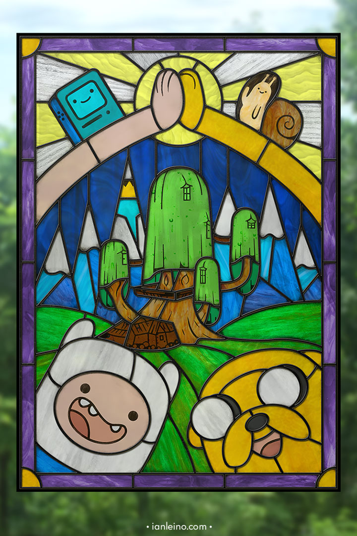 Time for Adventure - Stained Glass window cling