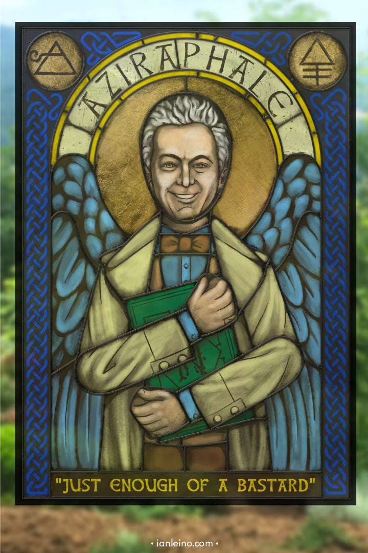 Aziraphale Icon - Stained Glass window cling