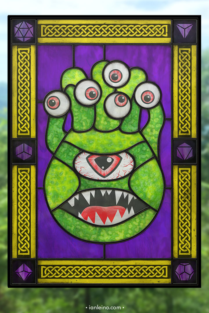 D&D Beholder - Stained Glass window cling