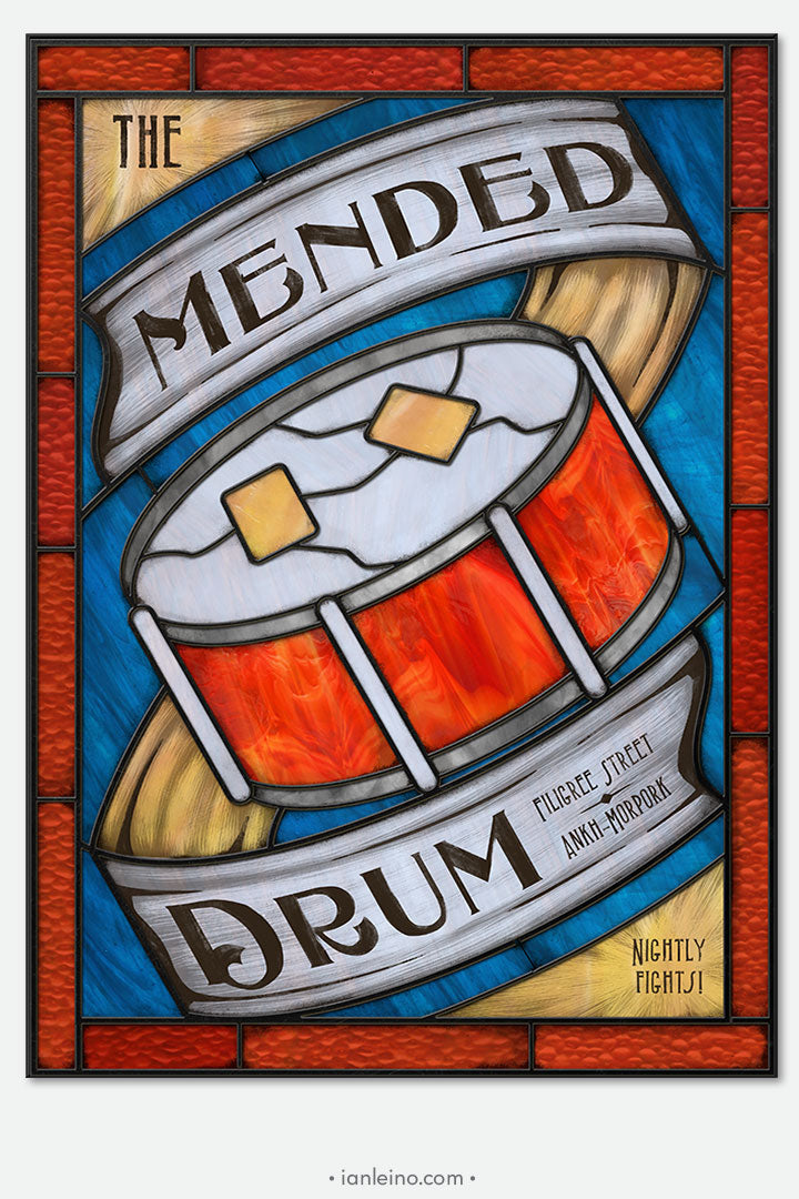 The Mended Drum - Pub Sign Stained Glass window cling