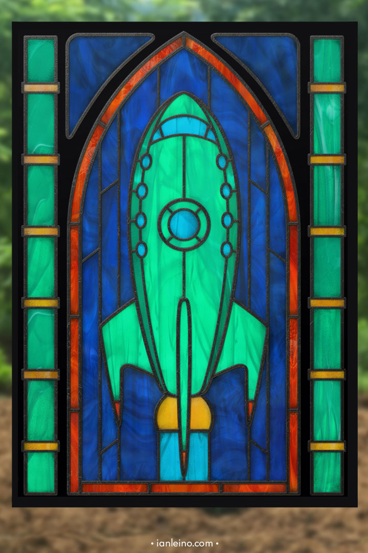 Planet Express Ship - Stained Glass window cling