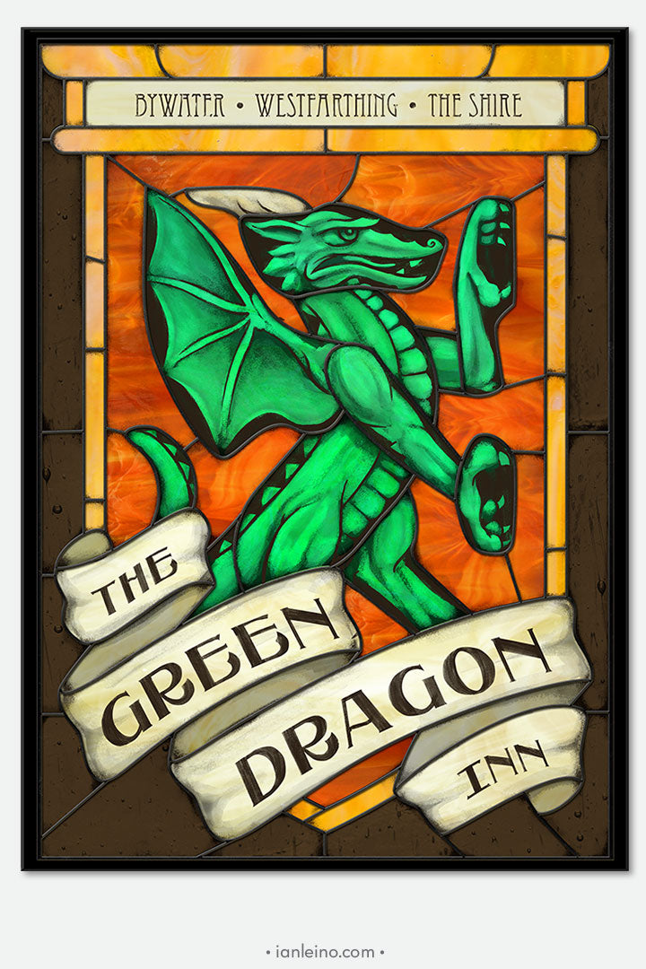 The Green Dragon Inn - Pub Sign Stained Glass window cling