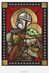 Mando & Child - icon style Stained Glass window cling