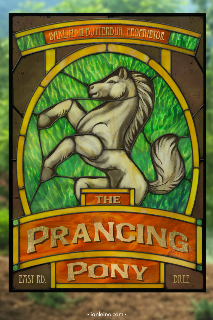 The Prancing Pony - Pub Sign Stained Glass window cling