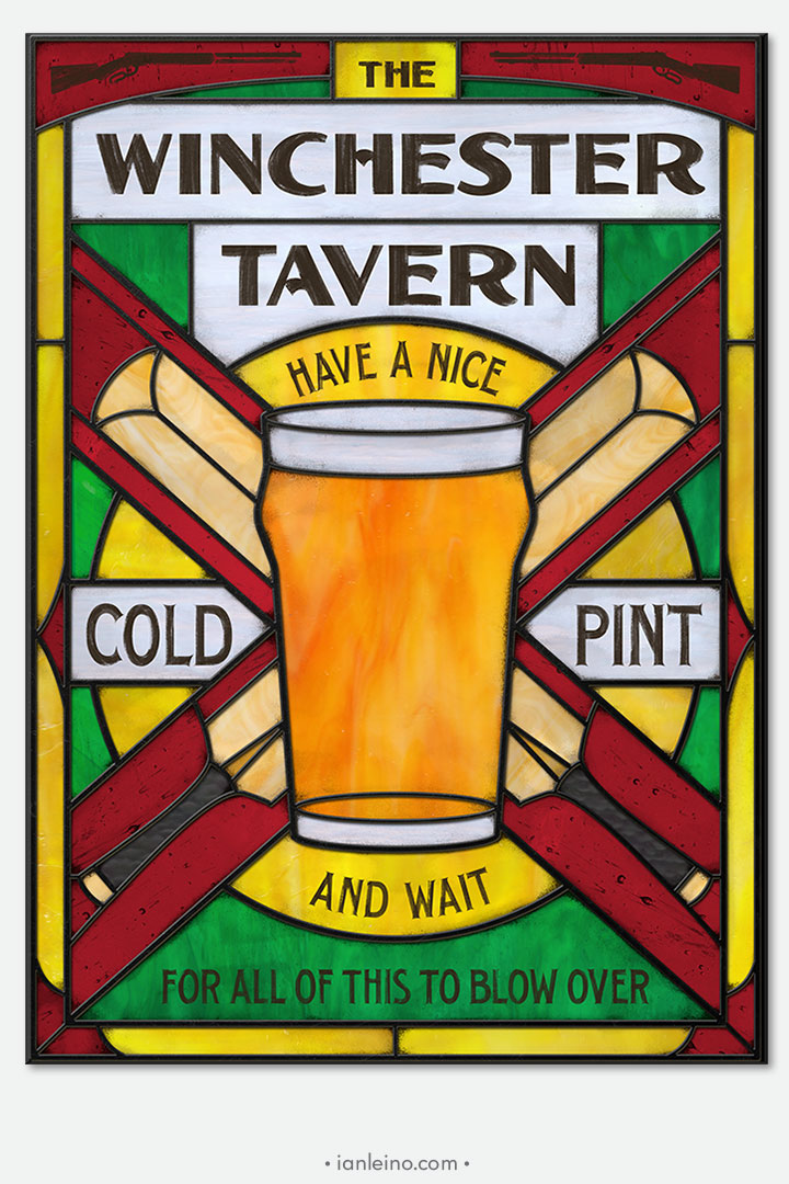 Winchester Tavern - Pub Sign Stained Glass window cling