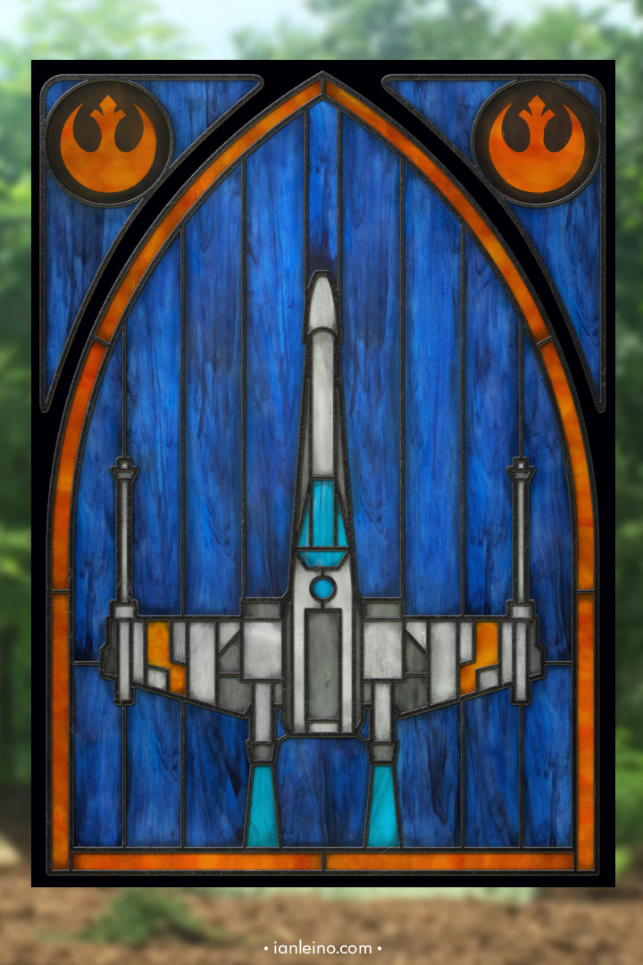 X-Wing - Stained Glass window cling