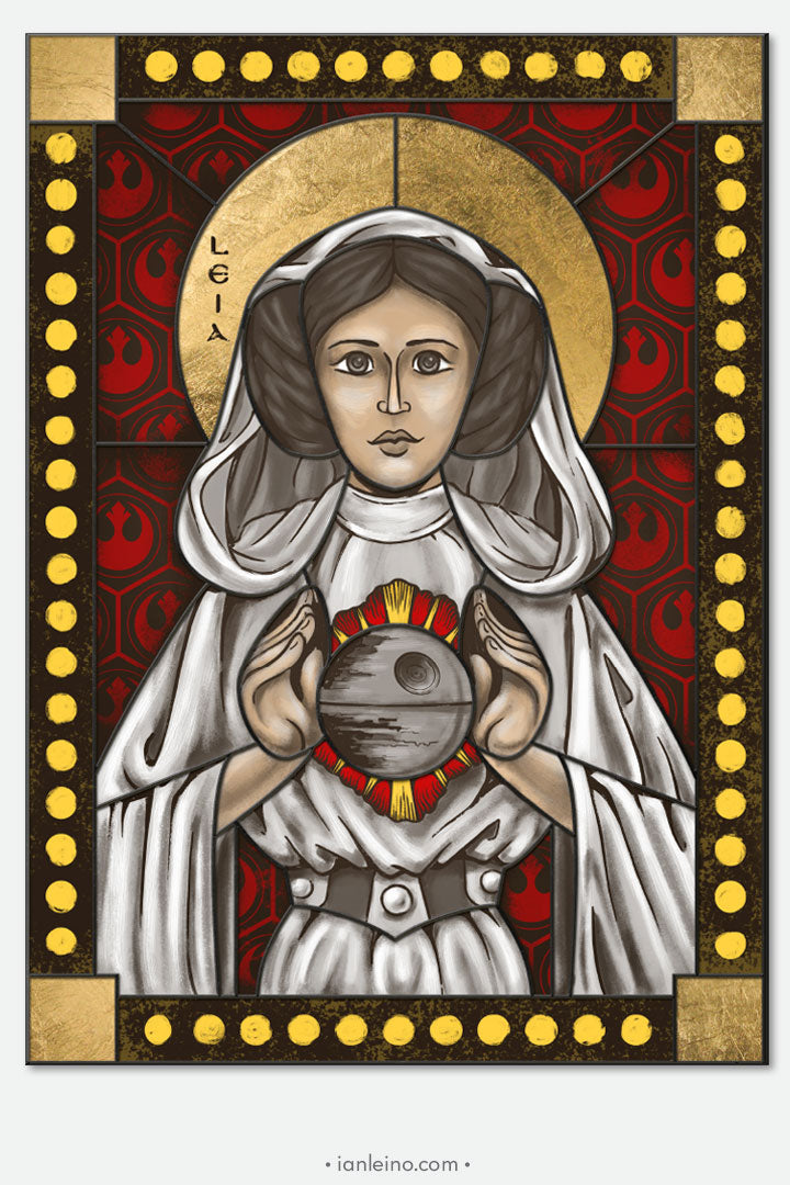 Princess Leia - icon style Stained Glass window cling