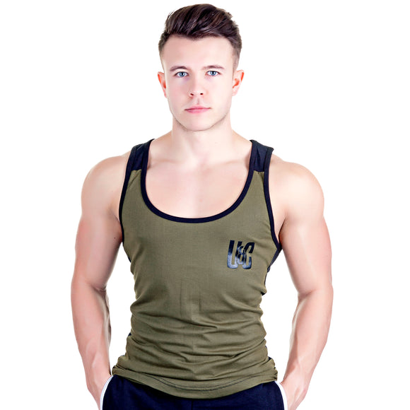 Two-Tone Longline Stringer - Khaki/Black