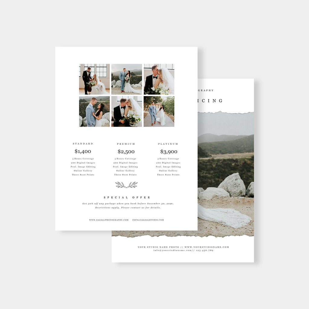 Classic - Wedding Photography Price Guide - Salsal Design
