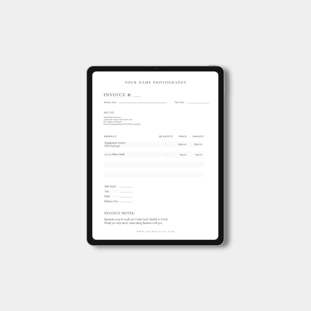 Classic - Photography Invoice-Template-Salsal Design
