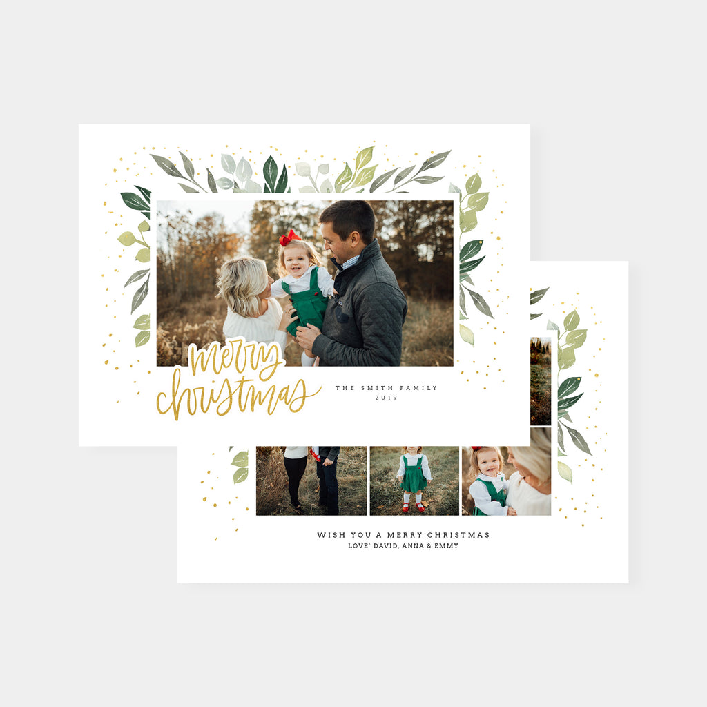 Green Watercolor - Christmas Card - Salsal Design