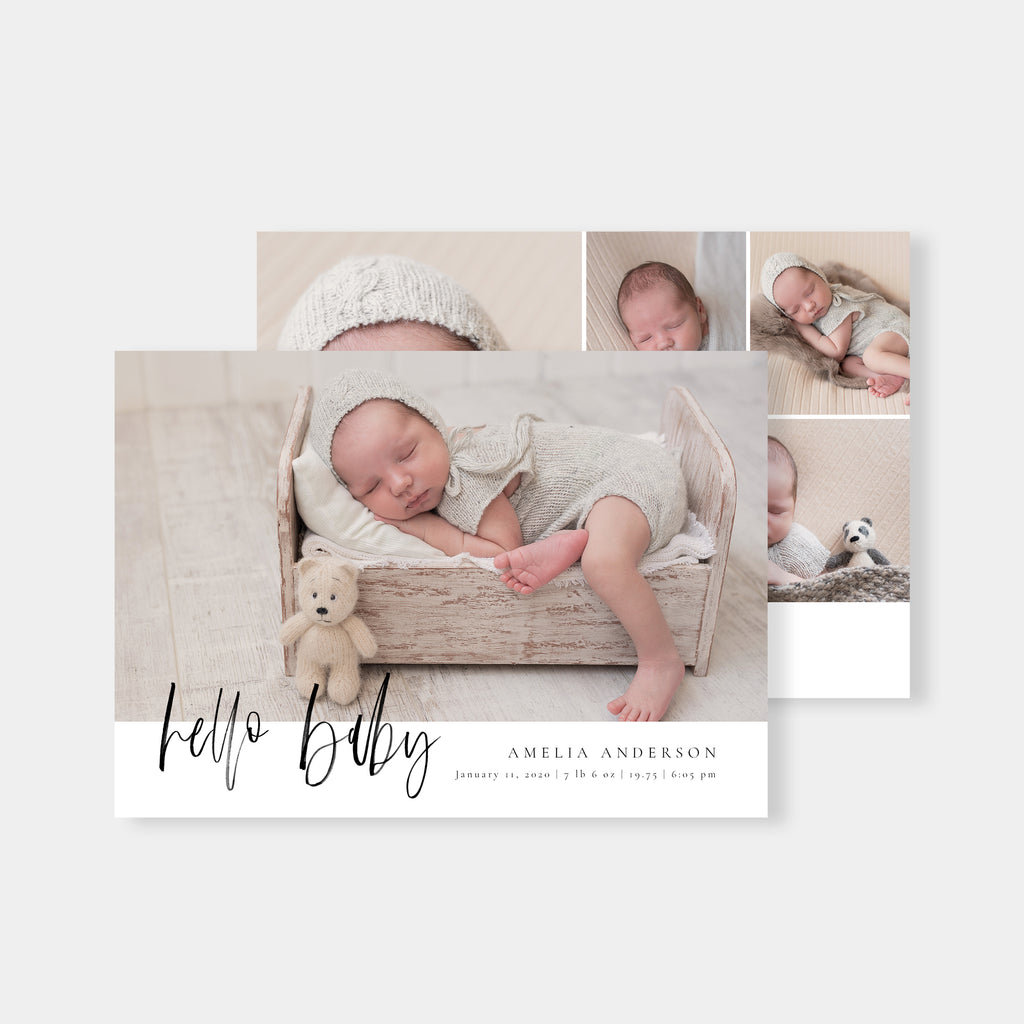 Hello Amelia - Birth Announcement Template - Salsal Design