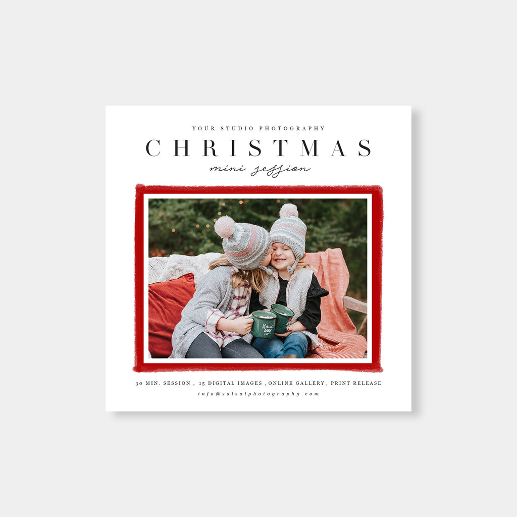 Red Border - Christmas Mini Session Template - Salsal Design