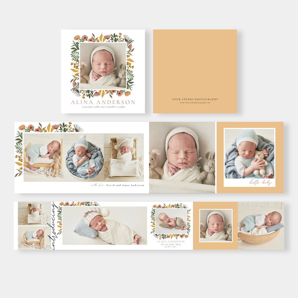 Blossom Flowers - Newborn Mini Accordion Album Template-Template-Salsal Design