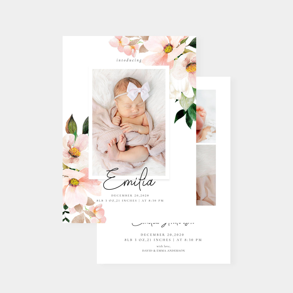Emila - Birth Announcement Template - Salsal Design