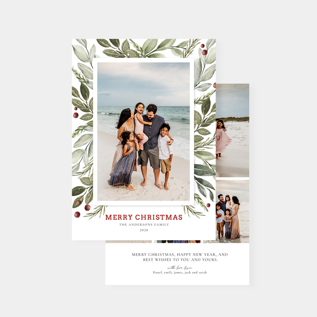 Pretty Watercolor - Christmas Card-Template-Salsal Design
