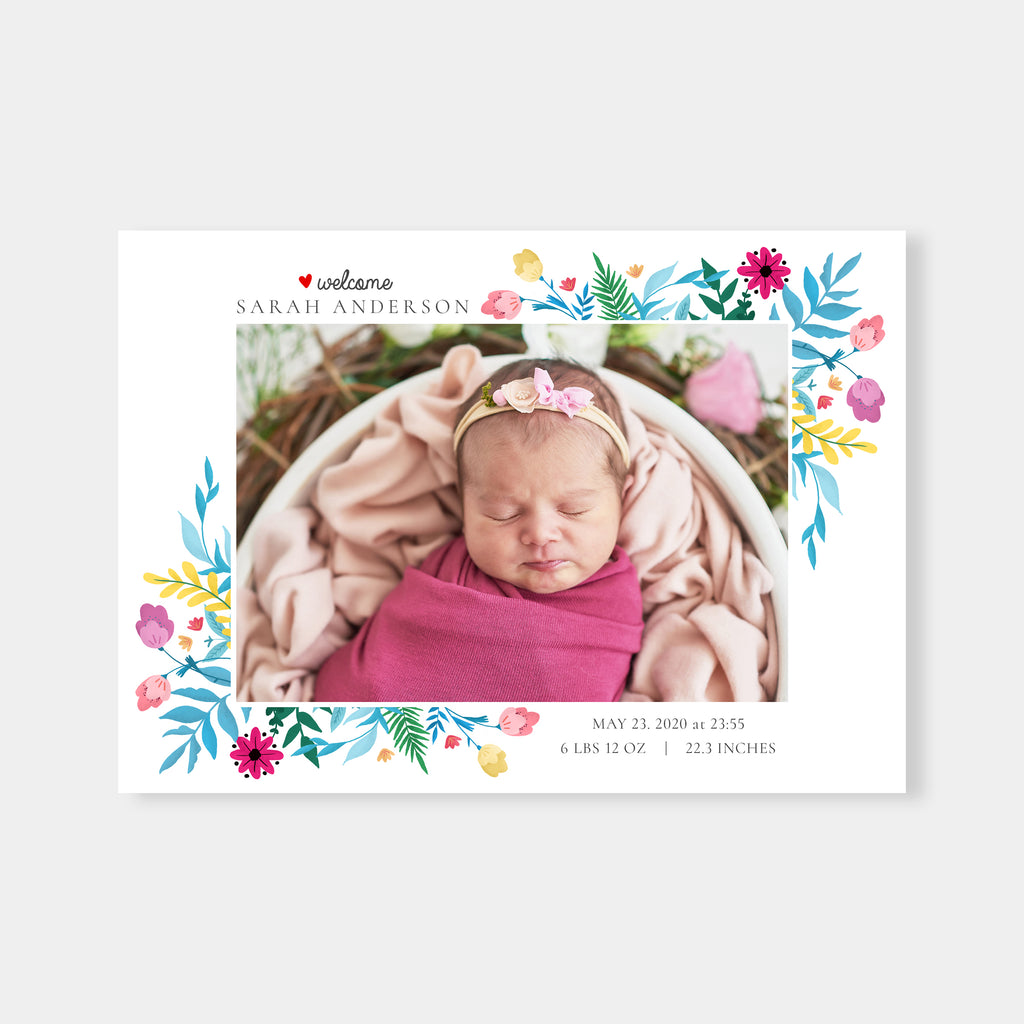 Bright Flowers - Birth Announcement Template-Template-Salsal Design