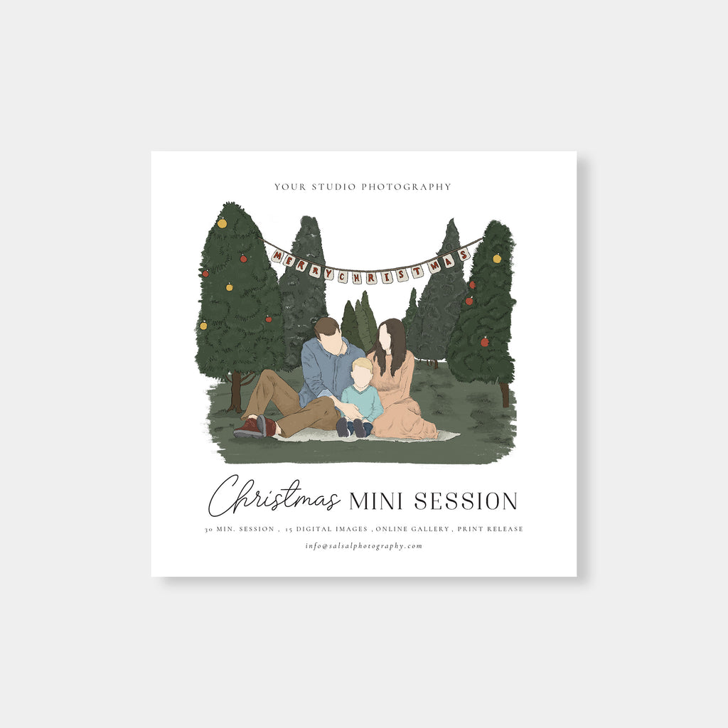 Watercolor Drawings - Christmas Mini Session Template-Template-Salsal Design