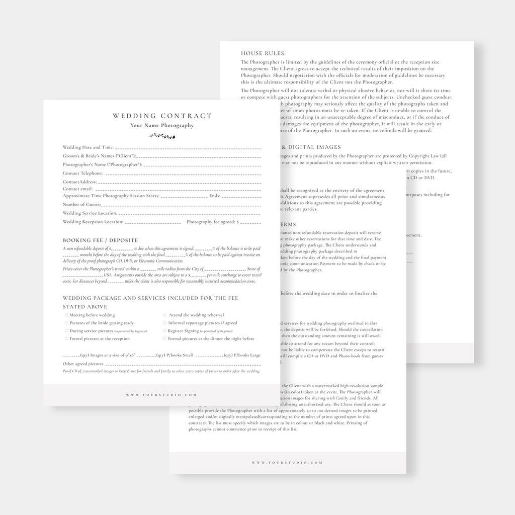 Wedding Photography Contract - Salsal Design