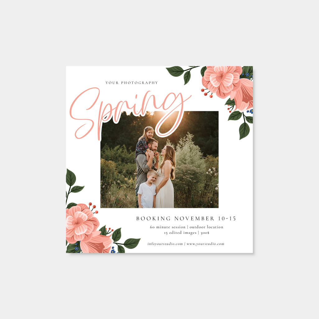 Pink Rose - Spring Mini Session Template-Template-Salsal Design
