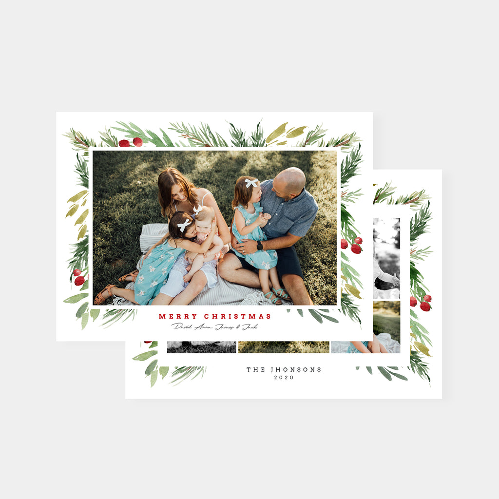 Beautiful Berries - Christmas Card-Template-Salsal Design