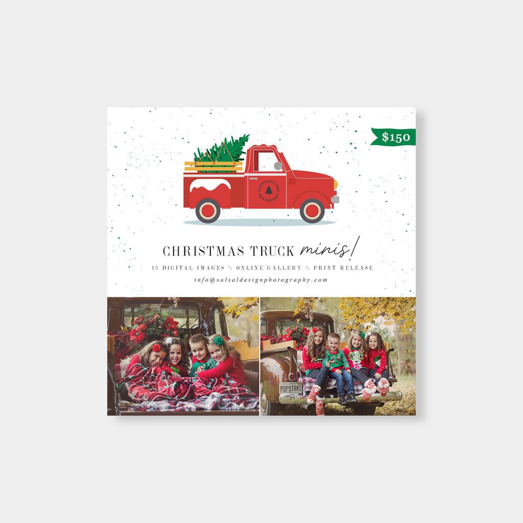 Snowy Christmas Truck - Christmas Mini Session Template-Template-Salsal Design