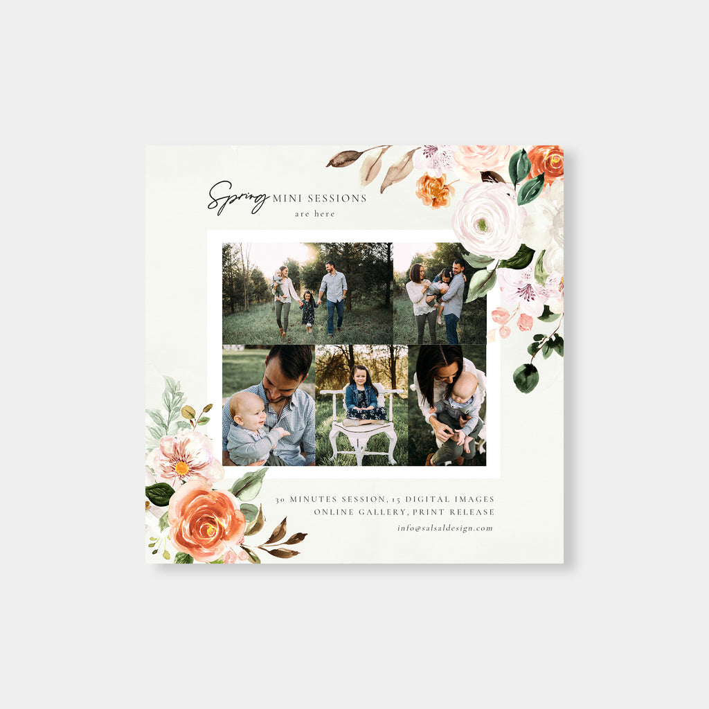 Colorful Flowers - Spring Mini Session Template - Salsal Design