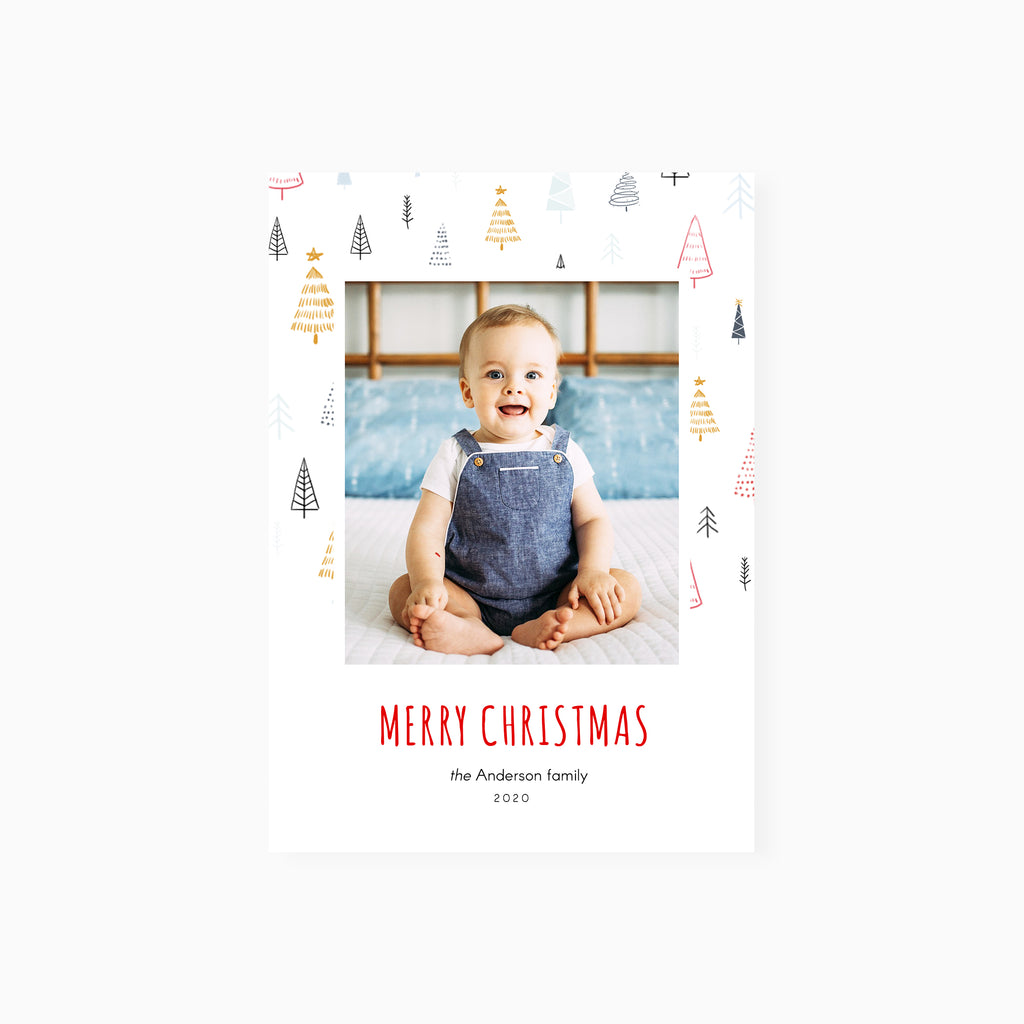 Watercolor Trees - Christmas Card-Template-Salsal Design