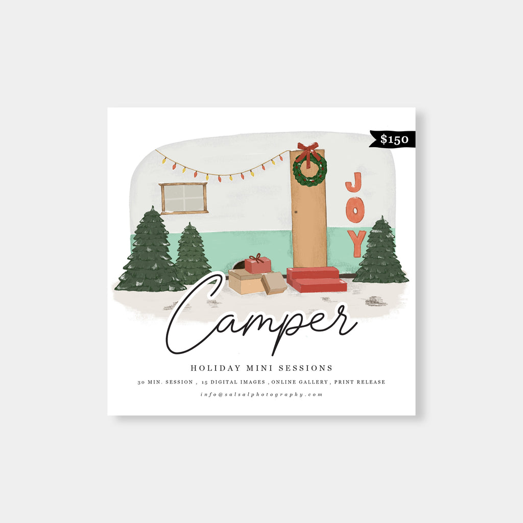 Watercolor Camper - Holiday Mini Session Template-Template-Salsal Design