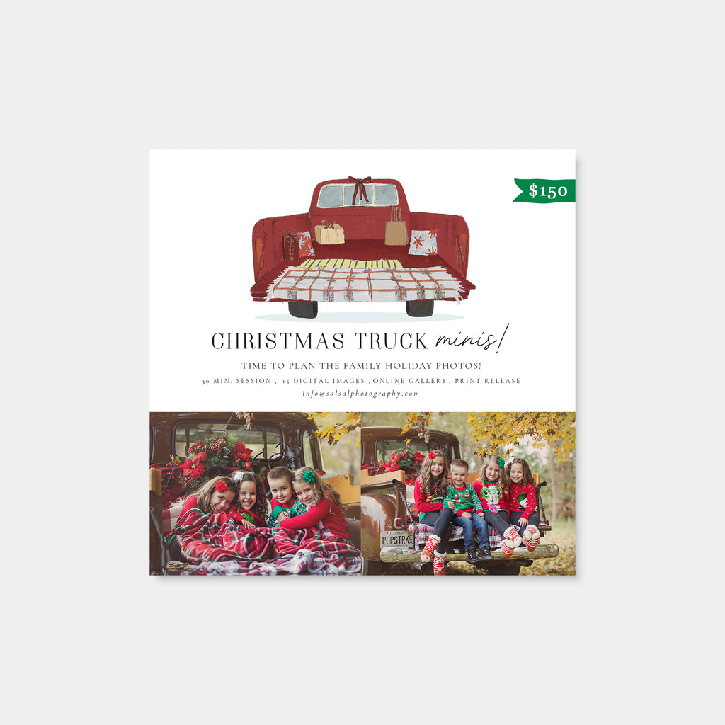 Festive Truck - Christmas Mini Session Template-Template-Salsal Design
