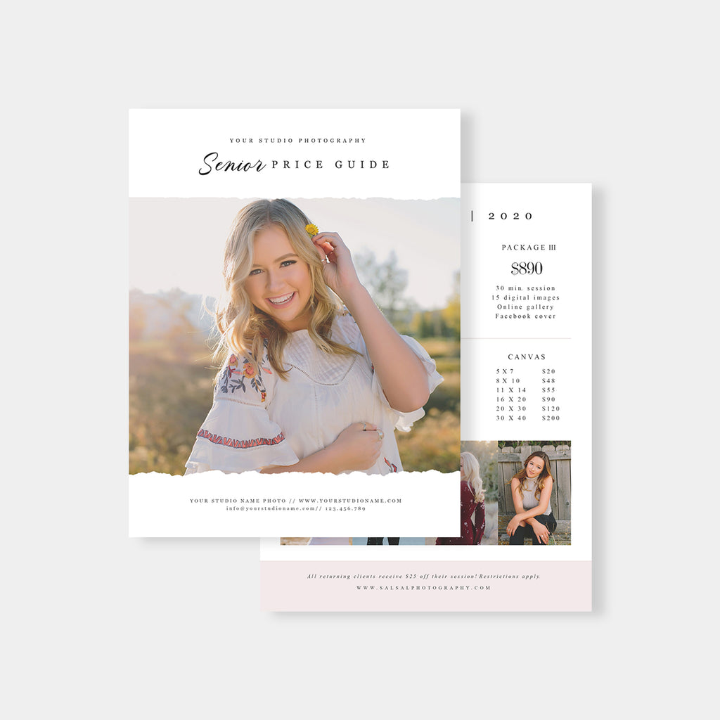 Minimalist - Senior Photography Price Guide - Salsal Design