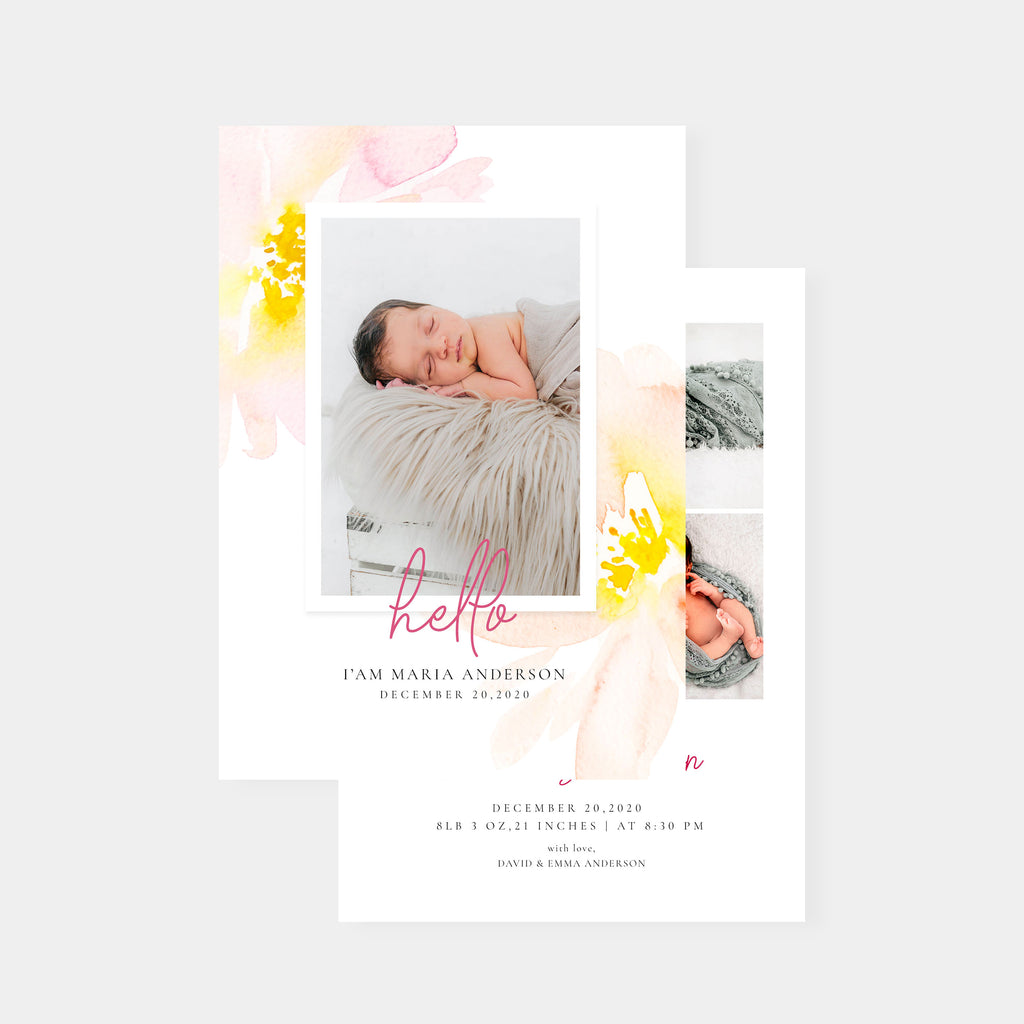 Maria - Birth Announcement Template - Salsal Design