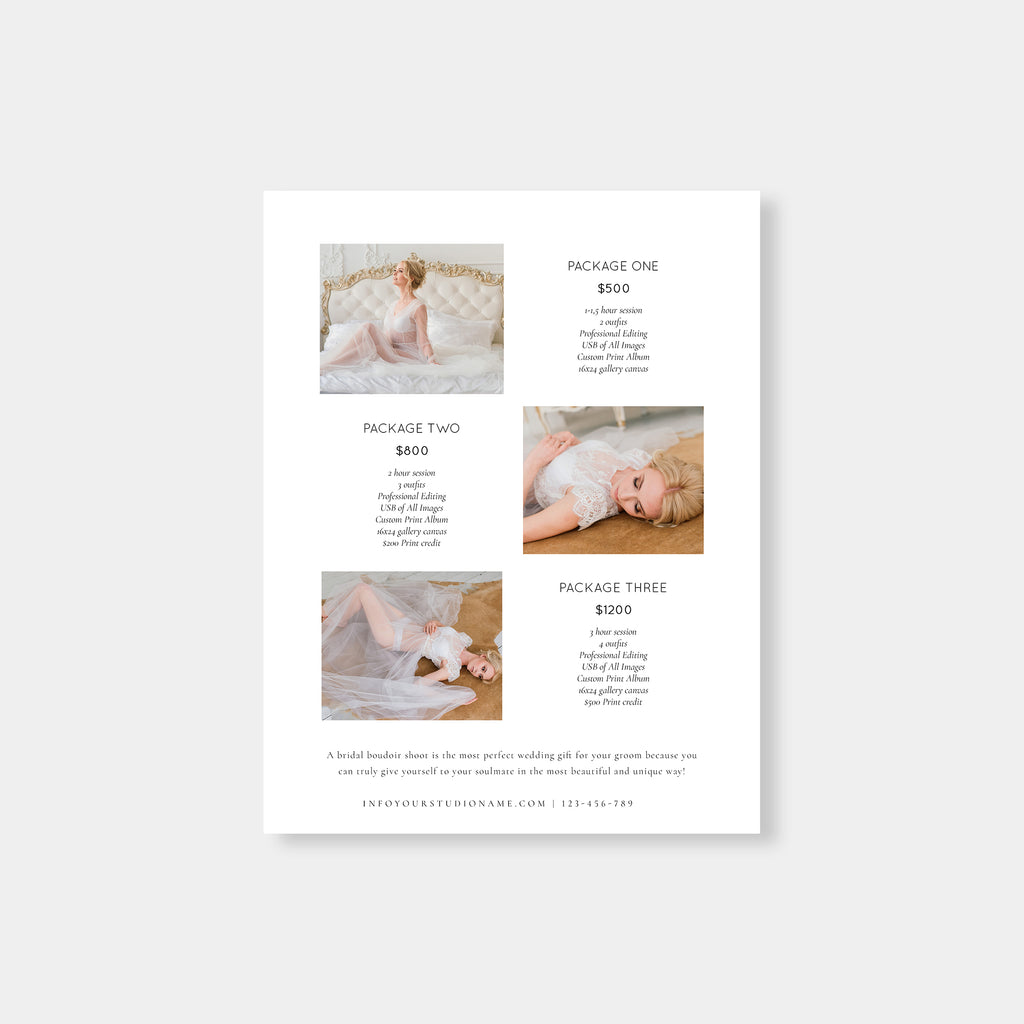 Chic Ivory - Wedding Photography Price Guide Template-Template-Salsal Design